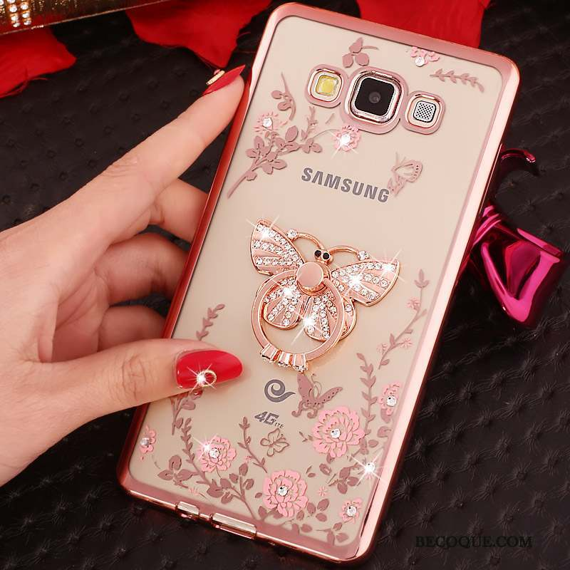 Samsung Galaxy S3 Coque Or Rose Silicone Fluide Doux Protection Anneau Strass