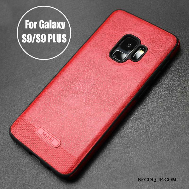 Samsung Galaxy S9+ Coque Simple Cuir Rouge Protection Fluide Doux Cuir Véritable