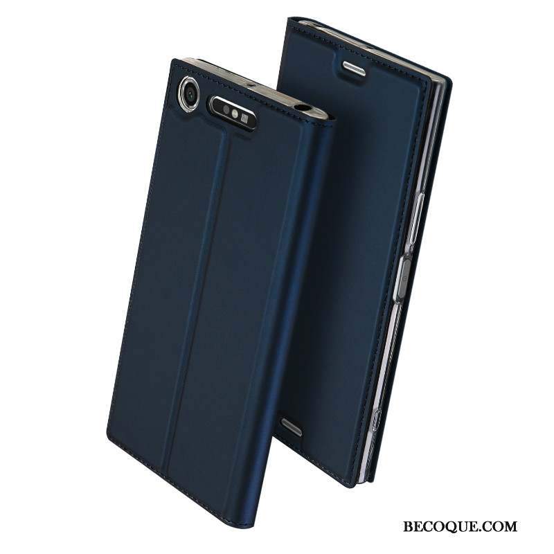 Sony Xperia Xz1 Carte Business Coque Protection Étui En Cuir Bleu