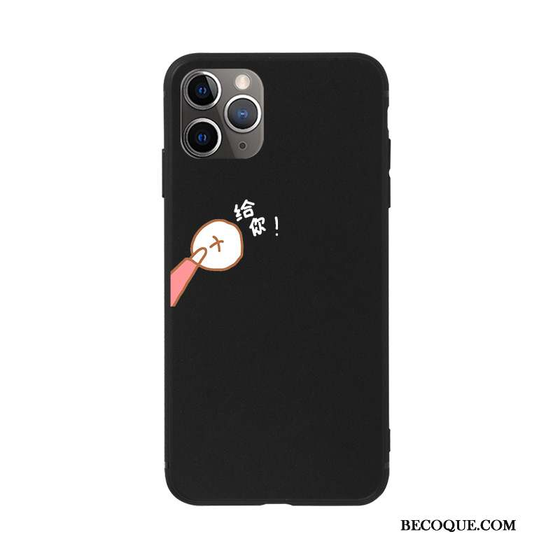 iPhone 11 Pro Coque De Téléphone Amoureux Silicone Étui Noir Fluide Doux