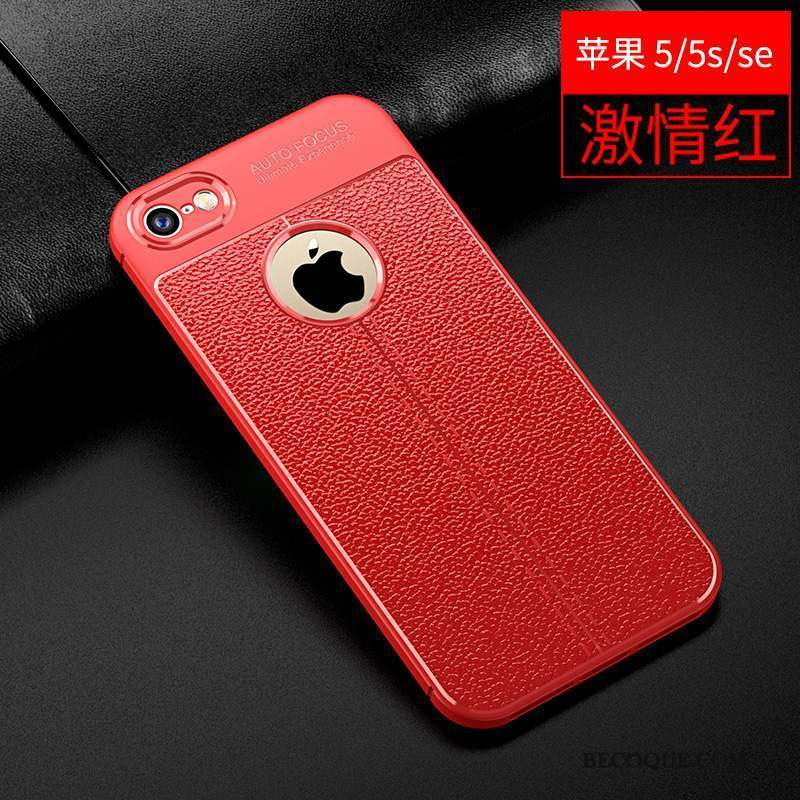 iPhone 5/5s Cuir Tendance Silicone Protection Coque Rouge
