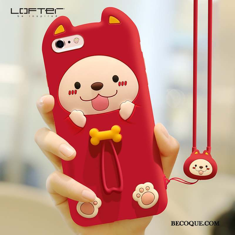 iPhone 6/6s Incassable Ornements Suspendus Rouge Charmant Silicone Coque De Téléphone