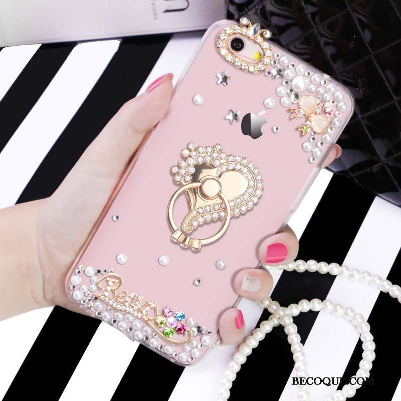 iPhone 6/6s Support Transparent Protection Coque Rose Strass