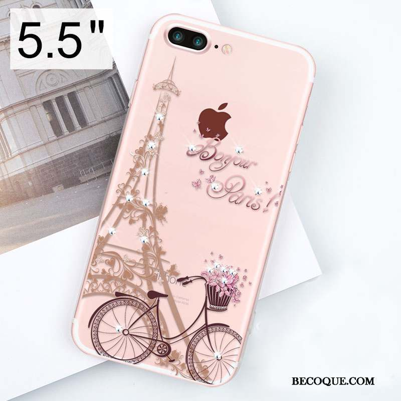 iPhone 8 Plus Étui Coque De Téléphone Or Rose Transparent Strass Silicone
