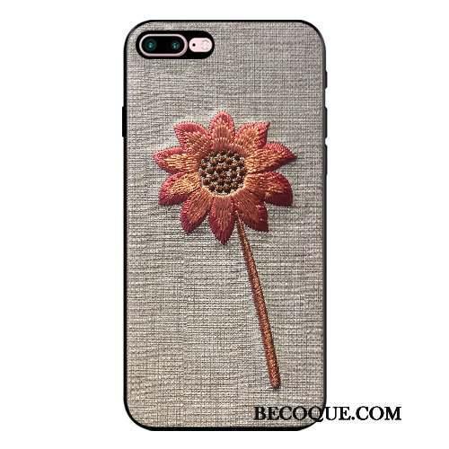 iPhone 8 Plus Coque Fleur Ornements Suspendus Broderie Tout Compris Élégant Gris