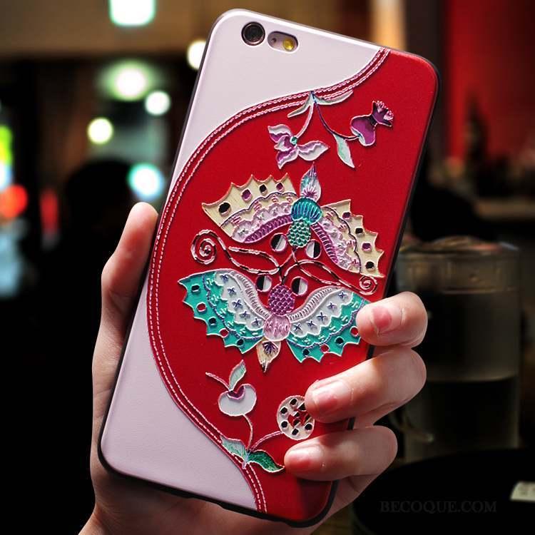 iPhone 8 Plus Coque Silicone Tout Compris Créatif Style Chinois Incassable Rouge