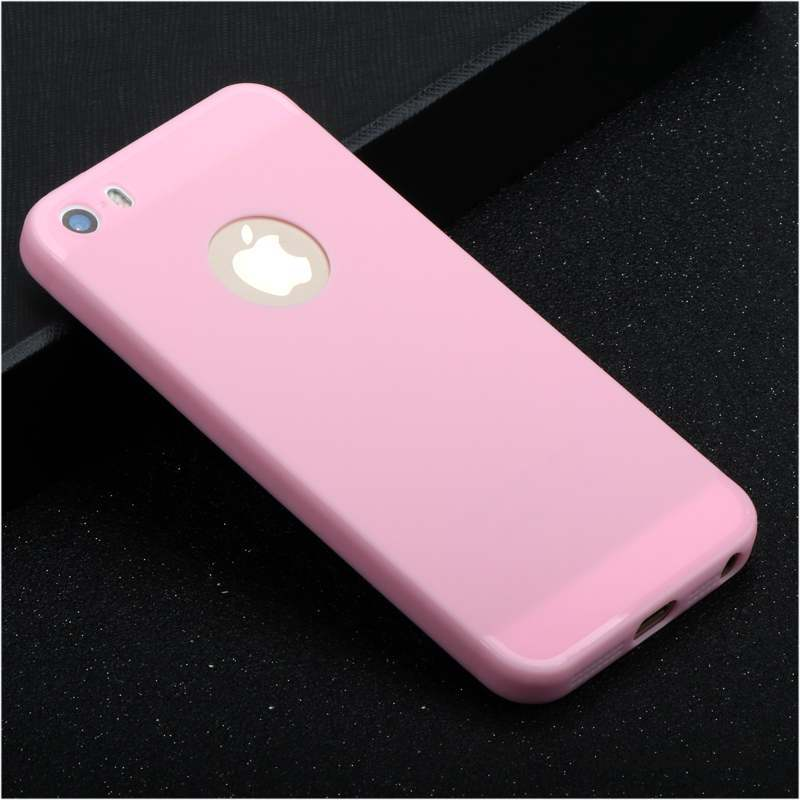 iPhone Se Coque Silicone Tendance Fluide Doux Étui Rose Simple