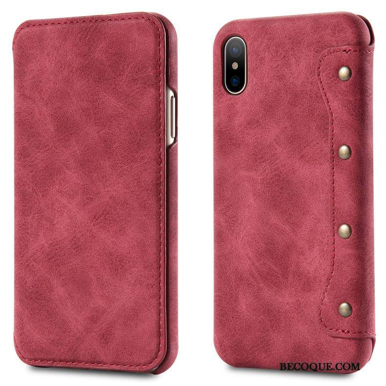 iphone x coque cuir rouge
