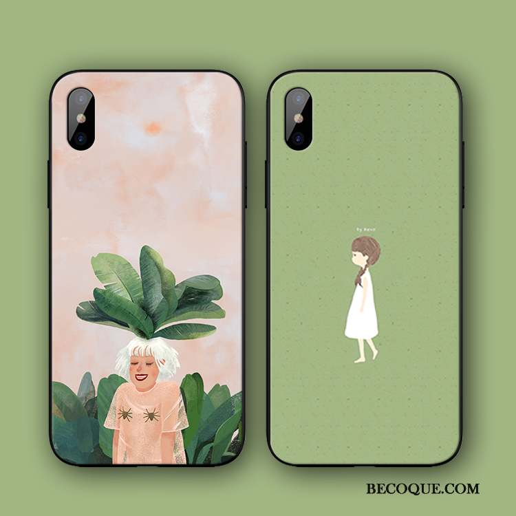 iPhone Xs Coque Protection Art Incassable Simple Étui Vert